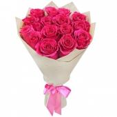 Роза розовая в крафте